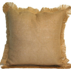 Decorative Pillows #06 Natural Burlap w/Jute Fringe Pillow: Beach Decor, Coastal Home Decor, Nautic