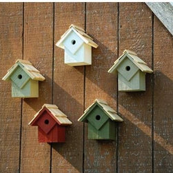 Summer Home Multi Birdhouse - This colorful set of birdhouses  would be a great looking addition to a bare wall. In addition, it provides plenty of housing for the littler birds like wrens. A great combination.