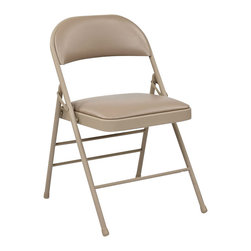 Office Star - Office Star FF Series Set of 4 Folding Chair with Vinyl Seat in Tan - Office Star - Folding Chairs - FF23124V - Folding Chair with Vinyl Seat and Back (Tan) (4-Pack ). Convenient for outdoors or an extra seat for a guest this folding chair comes in a multiple color selection of your choice. Also the office star is easy to store away until the next time you need it.