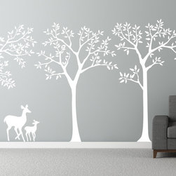 Cherry Walls - Forest Theme Decal - Enjoy a graceful forest scene silhouette, featuring three trees and a delicate mother and fawn. The contemporary, yet rustic tableau adds an intriguing story to any wall in your home.