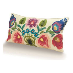"Viva Terra - Botanical Linen Pillow - Spring is bustin�۪ out all over this oversized pillow. The playful exuberance of its vivid colors, bold flowers and leaves transform it into a delightful folk-art textile. Sustainable feather down padding and cotton-linen fabric add supreme comfort. Made in USA of imported fabric. 31""L x 16""W"