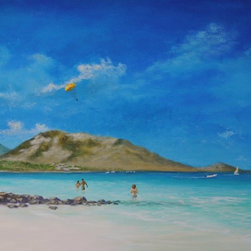 Original Tropical Caribbean Seascape  St. Martin - St. Martin Playground is an original 24x36 inch acrylic Caribbean seascape painting of one of St Martin's famous beaches painted on gallery wrap canvas. It is painted around the edges to create a continuation of the image on all sides. It is signed by the artist and ready to hang.