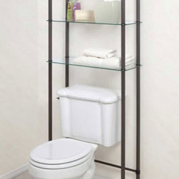 Free Standing Bathroom Shelf - Add another organizational option to your bathroom with this Free Standing Bathroom Shelf. This three tier glass shelf can easily fit over your toilet, while still giving you three shelves with of storage. The frame of this bathroom shelf is made of durable steel while the shelves are made with strong tempered glass.