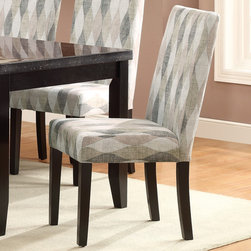 Coaster - Newbridge Dining Chair, Swivel Pattern - Set of 2 - The table carries a deep cappuccino finish and features tapered legs as well as a faux marble top. Accompanied are six matching side chairs. Upholstered in a neutral metal or a neutral taupe tone, both the seat and seat back foster total comfort. The chair is lifted on tapered legs finished in a dark cappuccino, and the seat back curves gently outward for a sense of shape and movement.