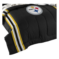 The Northwest Company - NFL Pittsburgh Steelers Football Twin-Full Bed Comforter Set - FEATURES: