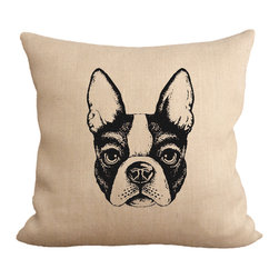 Fiber and Water - Boston Terrier Pillow - A cute illustration of a Boston Terrier face. This hand-printed piece of art has beautiful texture from a combination of natural burlap and water-based paints. Hand-pressed onto natural burlap using water-based inks.
