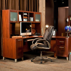 Bush Furniture - Bush Somerset Cherry 71 in. Computer Desk with Options Multicolor - BHI358 - Shop for Desks from Hayneedle.com! With its fine design and rich cherry finish the Bush Somerset Cherry 71 in. Computer Desk with Optional Hutch File Cabinet and Bookcase is a prime choice for any sophisticated office. This modern corner computer desk offers plenty of work space ample drawer storage and an optional hutch to keep office supplies organized and accessible. You can also add a lateral filing cabinet and bookcase to create an all-inclusive office setup. Crafted for lasting beauty the L-shaped desk has a durable wood construction and a cherry-finished scratch-resistant laminate surface. The desk's file drawer holds letter- and legal-size files a dedicated vertical CPU storage compartment with rear wire access keeps your tower neatly concealed and an accessory drawer holds office supplies within reach. The pullout keyboard tray and drawer pedestals can be mounted on the left or right side for configuration flexibility. The optional hutch offers various shelves for binders and books as well as two cabinets with frosted glass doors. The optional lateral filing cabinet has two interlocking drawers that reduce the likelihood of the cabinet tipping. They can hold letter- legal- and A4-size files. Full-extension ball-bearing side glides ensure smooth and reliable drawer operation. The optional bookcase features five spacious shelves (three adjustable). Metallic legs accent the cherry finish and add modern flair to the durable wood laminate construction. This contemporary-style corner desk and optional storage pieces will update any office at home or in a professional setting. Chair not included. Dimensions:Desk: 70.984W x 70.984D x 29.134H inchesDesktop depth (front to back): 23.5 inches CPU Compartment: 12.756W x 21.575D x 23.465H inchesKeyboard Shelf Compartment: 27.559W x 14.429D x 2.854H inchesBox Drawer: 12.205W x 15.787D x 4.094H inchesFile Drawer: 12.205W x 15.787D x 8.917H inchesKneewell Compartment: 32.835W x 22.559D x 24.547H inchesHutch: 70.984W x 13.701D x 35.827H inchesMonitor Compartment: 66.535W x 11.516D x 19.547H inchesSide Storage Compartments: 16.772W x 10.650D x 13.386H inchesMiddle Compartments: 10.866W x 9.882D x 12.441H inchesCenter Compartment: 11.535W x 9.882D x 12.441H inchesLateral File Cabinet: 29.7W x 21.75D x 29.2H inchesBookcase: 29.5W x 12.5D x 65.25H inches About Bush FurnitureBush Furniture is the eighth largest furniture company in the United States. Bush manufactures high-quality products which are designed to be easily assembled and provide great value for the price. Bush furniture is made from a combination of particleboard fiberboard and solid wood components. The use of real wood components will be noted in the product description if applicable.Bush Industries has over 4 000 000 total square feet of manufacturing warehousing and distribution space. This allows for a very wide selection of high-quality furniture with the ability to ship quickly. All standard residential Bush products carry a generous 6-year warranty. All Bush business furniture including the A series C series and Quantum series is backed by a 10-year warranty from Bush one of the best in the industry.Please note this product does not ship to Pennsylvania.