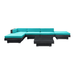 Modway - Laguna Sectional Set in Espresso Turquoise - Plumb the surface depths with the sweetly expressive Laguna corner set. Encompass moments of inspiration as you create ripple effects to be felt the world over. With soft all-weather turquoise fabric cushions and espresso rattan base, yield surprising results and let spontaneity flow forth as you sit in lavish comfort.