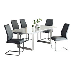 Creative Furniture - Alexia White High Gloss/ Silver 8 PC Dining Set (Table, 6 Chairs and Buffet) - Providing a unique look for any dining room, this appealing and chic Alexia White High Gloss/ Silver 8 PC Dining Set (Table, 6 Chairs and Buffet) uses MDF, high gloss and brushed steel and includes an extension leaf to seat up to people comfortably. The shining and bright high gloss top of this trendy and appealing Alexia allows the brushed steel base to show through.    Set includes Alexia Dining Table, 6 Fiore Chairs and Alexia Buffet.    Features: