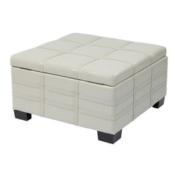 Avenue Six - Avenue Six Detour Eco Leather Storage Ottoman with Tray in Cream - Avenue Six - Ottomans - DTR3030SCMBD - The multi-purpose Detour Strap Storage Ottoman is finished in attractive eco leather with solid wood legs for a sophisticated feel. Functioning as both a coffee table and an ottoman, the built-in tray provides ease of accessibility for stored items, while the slam proof hinges add to its long list of features that make this the perfect piece for any room in the house!