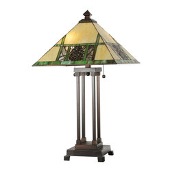 Meyda Tiffany - Meyda Tiffany Pinecone Mission Tiffany Table Lamp X-083301 - A pyramid finial and coordinating pyramid shape to the diffuser add to the mission styling of this Meyda Tiffany table lamp. From the Pinecone Mission Collection, this design features warm golden beige stained glass paired with moss green banding, bark brown accenting and a coordinating Mahogany Bronze finish.