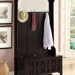 Coaster - Hall Tree, Cappuccino - This hall tree features a mirror at the top, coat hooks and a storage bench base. The bench front has a decorative grid pattern, which gives this piece a stylish touch. Finished in cappuccino.