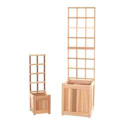 All Things Cedar - All Things Cedar PL1020U-Set 4pc. Planter Set w/ Trellis - Set includes: 1 -PL10U Planter Box with 1-CT10U Trellis and 1-PL20U Planter Box with CT20U Trellis.    Dimensions:   (10 x 10 x 36)(18 x 18 x60) in. (w x d x h)