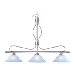 Maxim Lighting - Maxim Lighting 10127ICSN Basix Modern / Contemporary Kitchen Island / Billiard L - Contemporary collection with sweeping arms and clean lines.  Offered in Ice glass and Satin Nickel finish or Wilshire glass and Oil Rubbed Bronze finish.