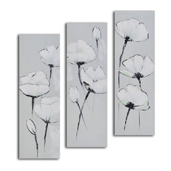 """White on White Poppies"" Hand-Painted 3-Piece Canvas Set - Searching for tranquility? This series of white on white poppies will really set the tone. Each canvas is hand painted and ready to hang. Stagger the presentation or display against a colorful wall for an eye-popping effect."