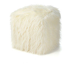 Ivory Mongolian Lamb Faux Fur Pouf Footstool - Even poufs are getting chic and furry updates these days. Two of these in a family room or den would be so fun.