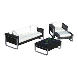 MangoHome - Outdoor Patio Sofa Sectional Wicker Furniture 4pc Aluminum Resin Couch Set - Outdoor Patio Sofa Sectional Wicker Furniture 4pc Aluminum Resin Couch Set