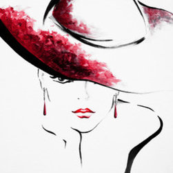 Society Girl (Original) by Lindsey Kate - As a fashion illustrator, I was inspired to bring pieces to life on a larger scale for the home. I aim to capture the elegance, confidence, and beauty of the female form in each piece. This woman, intrigued by the viewer studies you from beneath the brim of her hat, drawing each viewer in. My pieces are also created with colors that could fit into nearly any home or space and can work with other pieces to create a stylish, creative vibe within your space.