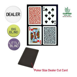Trademark Poker - Copag Poker Size Regular Index Playing Cards - Dealer kit includes:. Poker size Cut Card: 2.50 in. x 3.5 in.. Casino sized Dealer Button:2 in. Dia.. Big & Little Blind Buttons: 1.25 in. Dia.. 100% Plastic. Red and Blue paisley design decks. Regular-sized indexCOPAG plastic playing cards are made from a exclusively engineered PVC plastic. These cards can handle the wear and tear of normal games, outlasting paper cards up to 500 times. Completely washable, you don't need to worry about soiled cards. A quick wipe with a damp wash cloth, then dry and they are ready to go. Each set comes in its own hard plastic case for storage. Whether you play solitaire, have a kitchen table game or manage a card room - once you try COPAG you will never use any other cards again.