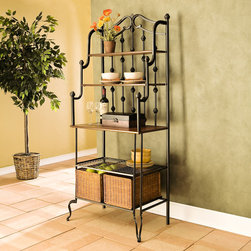 Upton Home - Augusta Black Baker's Rack - Add style and finesse to your kitchen by getting this black durable bakers rack. Made from durable steel tubing for strength, this elegant rack will serve you for ages. It is quite versatile, with ample storage space and a large table top work surface.