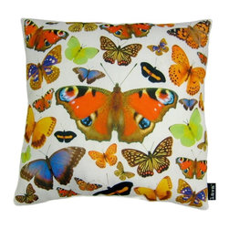 Moth Collection 18X18 Pillow (Indoor/Outdoor) - 100% polyester cover and fill.  Suitable for use indoors or out.  Made in USA.  Spot Clean only