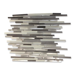 """GlassTileStore - Industrial Stylus Ice Wetlands Aluminum Mosaic Tile - Industrial Stylus Ice Wetlands Aluminum Mosaic Tile          Give your kitchen backsplash that stylish modern look with our Industrial Stylus Ice pattern tile. This gorgeous blend of aluminum and glass tile is ideal not just for a backsplash, but also for a floor accent! Whether using this stunning tile as a backsplash wall, or as an accent piece, the aluminum and glass blend will give your room a classic and contemporary setting. Add a small touch of """"wow"""" to any room.          Chip Size: 3/8"""" x Random   Color: White, Silver, Platinum, Silver Gray    Material: Glass and Aluminum   Finish: Polished and Brushed   Sold by the Sheet - each sheet measures 11 3/4 x11 3/4 (0.96 sq. ft.)   Thickness: 8mm   Please note each lot will vary from the next.            - Glass Tile -"""