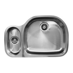 Ukinox - Ukinox D537.80.20.10L Under mount Kitchen Sink - The Ukinox D537.80.20.10L sink pairs our classic D-shaped bowl with one of our many smaller bowls to create a standard sized double-bowl undermount sink that meets your needs. With an oversized main sink and a task-specific sidekick, these standard and extra deep sinks are the mainstay in most glamorous kitchens. The large bowl is on the left side.