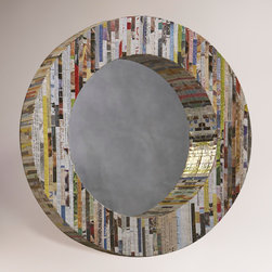 Recycled Magazine Round Mirror - This Recycled Magazine mirror would be a fun piece for a graphic-inclined, modern space.