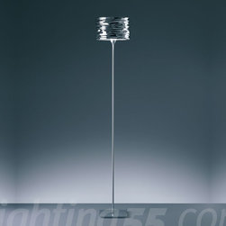 Artemide - Aqua Cil floor lamp - Shade in mirror-treated aluminum available in polished chrome, polished metallic orange, or polished metallic blue. Base in die-cast aluminum with polished chrome steel stem. Touch dimmer on body.
