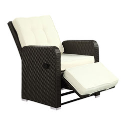 Manhattan Home Design - Commence Patio Outdoor Patio Armchair Recliner - Kick back and enjoy sunrays and pleasant drifts of wind in the Commence outdoor recliner. While televisions may not be as weather resistant, rest assured that your relaxation time won't be lacking without it. Commence features foam padded all-weather cushions, and a lean back mechanism that keeps you comfortably lounging with ease. Savor your beverage of choice, book or mid-day power nap, and refresh yourself with a synthetic rattan weave outdoor recliner made to your specifications.