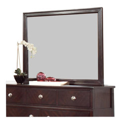 "Coaster - Coaster Albright Mirror in Cherry Finish - Coaster - Mirrors - 202654 - Use this mirror with a simple wood frame for the top of your dresser. It creates a dressing area and will make your bedroom feel more spacious.Cherry FinishCrafted From Pine Solids and Birch VeneersTransitional styleSpecifications:Overall product dimensions: 34.75""W x 44""H x 1.25""D"