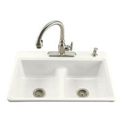 KOHLER - KOHLER K-5838-4-0 Deerfield Smart Divide Self-Rimming Kitchen Sink with Double E - KOHLER K-5838-4-0 Deerfield Smart Divide Self-Rimming Kitchen Sink with Double Equal Basins and Four-Hole Faucet Drilling in White