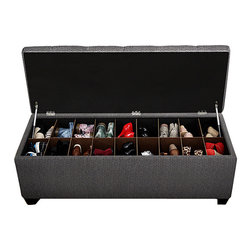 The Sole Secret - Charcoal Candice Shoe Storage Bench - Organize your living space with this dramatic storage bench that features eight removable dividers to store shoes. Upholstered with plush fabric, this convenient bench also serves a comfortable resting spot.   Weight capacity: 200 lbs. 54'' W x 20'' H x 18'' D Wood / metal / fabric Minimal assembly required Made in the USA