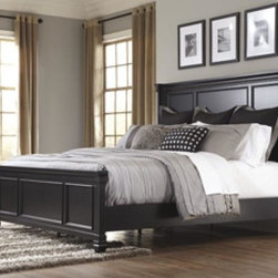 Signature Design by Ashley Queen Panel Headboard - This rich black paint beautifully embraces the warm cottage feel of the Greensburg bedroom set. It helps to create a relaxing atmosphere and allows for ample storage under the footboard.