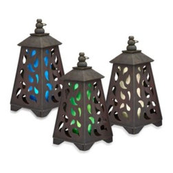 Garden Meadow Ltd - Garden Meadow Solar Scroll Pyramid Wooden Lantern - Garden Meadow Solar Scroll Lanterns offer a unique piece for your outdoor garden decor that also provides accent lighting at night.