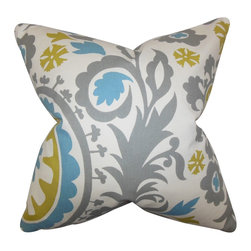 "The Pillow Collection - Wella Floral Pillow Gray Blue - Give your living space a modern touch with this pretty decor piece. This throw pillow features a unique floral pattern in shades of gray, yellow, blue and white. Ideal for indoor use, this 18"" pillow is perfect for your sofa, bed or seat. Mix it with solids and other details for a contemporary look. Made of 100% high-quality cotton fabric. Hidden zipper closure for easy cover removal.  Knife edge finish on all four sides.  Reversible pillow with the same fabric on the back side.  Spot cleaning suggested."