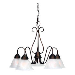 Volume Lighting - Volume Lighting V2355 Minster 5 Light 1 Tier Chandelier with Alabaster Glass Sha - Five Light 1 Tier Chandelier with Alabaster Glass Shade from the Minster CollectionTimeless and refined, this 5 light chandelier features 1 tier and classy alabaster glass.Features: