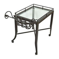 """Used Kreiss Montoro Patio Serving Cart - A Kreiss """"Montoro"""" patio serving cart, in a matte black that's been powder coated. This cart has never been used and is in perfect condition, with inset glass.    Please note, the seller also has the matching Montoro patio bar chairs, tables, a loveseat, and chaise loungers available. If you are interested in purchasing multiple pieces (or the set), please email: support@chairish.com."""