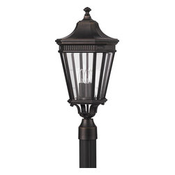 Murray Feiss - Murray Feiss Cotswold Lane Transitional Outdoor Post Lantern Light X-ZBG7045LO - Three candelabra style lights add to the traditional appeal of this Murray Feiss outdoor post lantern light. From the Cotswold Lane Collection, it features a rich Grecian Bronze finish that highlights the intricate details. Clear beveled glass panels give a subtle modern feel that completes the look.