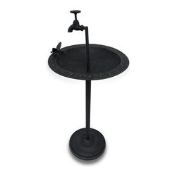 Zeckos - Fountain Style Verdigris Finish Metal Bird Feeder with Decorative Faucet - This faucet style bird feeder may have a delicate appearance, but It's durable and built to withstand outdoor environments. Made from metal, It's finished in a beautiful verdigris and stands 36 inches high (91 cm), has an 11 inch (28 cm) diameter base, and a 15 inch (38 cm) diameter bowl with a life-size hummingbird accent ready to drink from the faucet. Pour in birdseed and sit back and watch the birds flock, or fill it with water from your garden hose, and it turns into an entertaining birdbath. It's sure to be complimented whether It's on your front lawn, or tucked away in your garden oasis.
