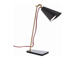 Arteriors - Rio Desk Lamp - Classic metal task lighting gets a makeover via finishes: matte black and natural wood grain. So cool looking, you may wish to move it beyond the desk — placing a pair on a buffet or console, perhaps.