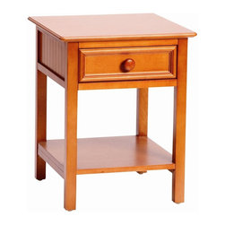Bolton Furniture - Wakefield Single Drawer Night Stand in Honey Finish - 1 Drawer. Solid frame construction built to last. 4 Sided dovetailed drawer box construction. Under mount self-closing drawer glides. Made of solid wood and veneers. 1-Year warranty against manufacturing related issues. 20 in. W x 19 in. D x 25 in. H (38 lbs.)
