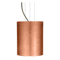 Besa Lighting - Besa Lighting 1KG-4006CF-LED Tamburo 1 Light LED Cable-Hung Pendant - Tamburo is a classic open-ended cylinder of handcrafted glass, a shape that will stand the test of time. Our Copper Foil glass is sparkling and metallic. Distressed metal foil is applied to the inner surface of a glossy clear blown glass. This decor is full of textured and depth, however the outer surface of the glass is smooth. When lit the glass comes to life, as the distressed foil allows glimpses of light to pass through. This blown glass is handcrafted by a skilled artisan, utilizing century-old techniques passed down from generation to generation. Each piece of this decor has its own artistic nature that can be individually appreciated. The cable pendant fixture is equipped with three (3) 10' silver aircraft cables and 10' AWM cordset, and a low profile flat monopoint canopy.Features: