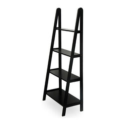 Winsome Wood - Frame Shelf, 4-Tier - Distinctive A -Frame design offers a sleek and modern look. 4 sturdy shelves, different depths narrowing toward top. Made of sturdy beech wood with an elegant dark stain.