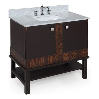 Kitchen Bath Collection - Rio 36-in Bath Vanity (Carrara/Chocolate) - This bathroom vanity set by Kitchen Bath Collection includes an espresso cabinet with self-closing door hinges, Italian Carrara marble countertop, undermount ceramic sink, pop-up drain, and P-trap. Order now and we will include the pictured three-hole faucet and a matching backsplash as a free gift! All vanities come fully assembled by the manufacturer, with countertop & sink pre-installed.