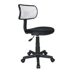 """Techni Mobili - Techni Mobili Mesh Task Chair in White - Mesh Task Chair in White by Techni Mobli The Techni Mobili Mesh Task Chair is a fun, lightweight office chair that features breathable mesh back support, a contoured fabric seat cushion, and a pneumatic seat height adjustment lever that provides a 3 inch range in seat height from 15.5"""" to 18.5"""". The durable design includes a heavy-duty plastic shell back, a 5-star nylon base provide, and dual wheel non-marking casters for durable, stable mobility. COLOR: White.  Office Chair (1)"""