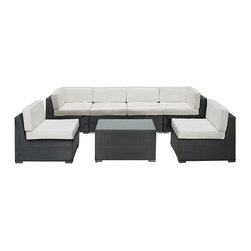 Modway - Aero Sectional Set in Espresso White - Introduce aerodynamic comfort with the Aero Outdoor Sectional Set. Welcome your friends and family to a motivational setting of exceptional appeal. Aero is a versatile seating environment built for patio, backyard or pool areas in need of something dynamic.
