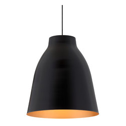 Zuo - Bronze and Matte Black Pendant Light - The Bronze and Matte Black Pendant Light will shine a light in your space.  If you are looking to create a dramatic look with a simplistic design, this pendant light may be just what you are looking for.  The matte black metal exterior of the pendant keeps a chic look, while the golden interior creates an amber glow for your space.  This pendant is great for hanging in clusters over a dining table, hanging in a row over a bar area or even over bedside tables in the bedroom.  Pendant lights are great for task lighting especially when hung low.