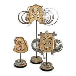 Salvatecture Studio - Set of Three Vintage Brass Clock Mechanisms on Stands - Upon close inspection, this trio of vintage mechanisms reveals a world of windings and intricate gears. Step back and you'll see that everything comes together artfully. Each unique mechanism is mounted on a reclaimed gear stand and will work like clockwork in your home or office setting.