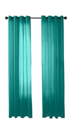 """HLC.ME - HLC.ME 2 Piece Sheer Window Curtain Grommet Panels, Aqua Blue (Teal) - Sheer Curtain Grommet Panels will liven up your indoor or outdoor spaces with a sense of airiness and beauty. Made from solid color polyester voile. Our luxurious sheer grommet panels gives your home a new elegant look. Allows natural light to flow through the room. Each panel is 54"""" in Width and 84"""" in Length. For a full look use 2 panels to cover a standard size window. This picture shows two sheer grommet panels  this package contains two (2) Sheer Grommet Panels."""